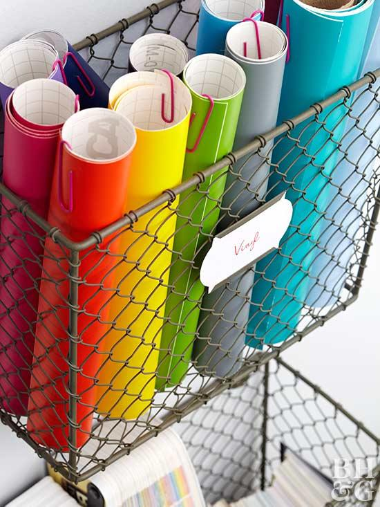 hanging wire made wall bins for rolled paper supplies
