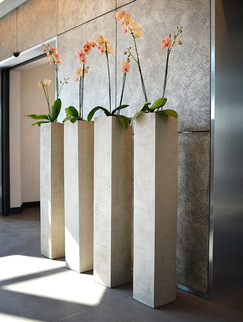 higher concrete planters in gray