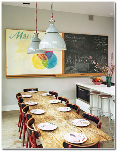 industrial eat in kitchen idea natural wood dining table red chairs industrial light fixtures with light blue metal lampshade chalkboard wall decor