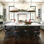 Industrial Eat In Kitchen Salvaged Pendants Metal Stools Dark Island With White Worktop Dark Wood Floors