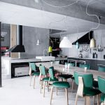 Industrial Eat Kitchen Idea Creative Pendants With Pop Of Color Lampshade Emerald Toned Chairs Metal Dining Table