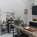 Industrial Kitchen Design Stand Alone Stove Metal Shelving Unit Raw Finish Wooden Island Industrial Style Pendants