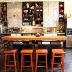 Industrial Kitchen Design Wood Dining Furniture Locker Like Kitchen Cabinets Open Shelving Unit Concrete Floors