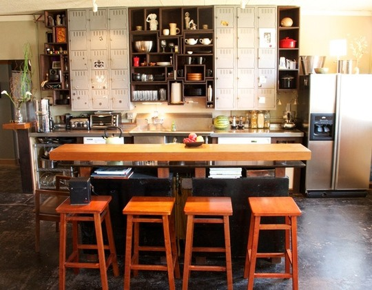 industrial kitchen design wood dining furniture locker like kitchen cabinets open shelving unit concrete floors