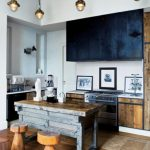 Industrial Kitchen With Rustic Door Rustic Island Hardwood Stools Large Numbers Of Pendant Flat Paneled Cabinets In Matte Black