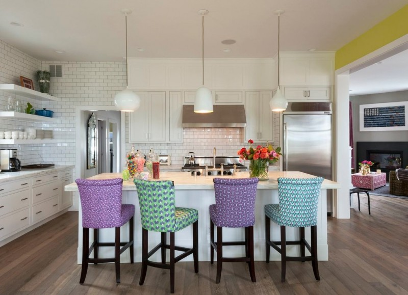 medium size kitchen island in white colorful bar stools modern white pendants with different shaped lampshades