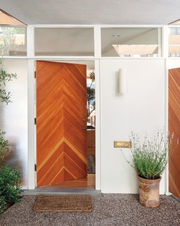 mid century modern front door with modern pattern