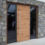 Mid Century Modern Wood Front Door With Vertical Door Knob And Larger Sidelights