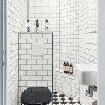 Monochrome Bathroom Design Monochrome Tiles Flooring Wall Mounted Toilet Wall Mounted Bathroom Sink White Subway Tiles Walls Walk In Shower Space