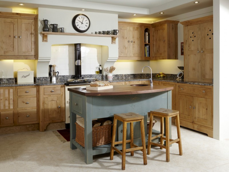 oak finishing kitchen cabinets and bar stools Green Smoke colored kitchen island with hardwood worktop oak bar stools granite kitchen countertop
