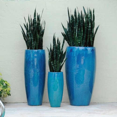 oversized ceramic planters in blue