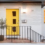 Pop Of Yellow Front Door With Glass Window Accents