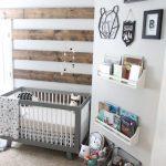 Rustic Modern Nursery Room Idea Wood Palette Wall Gray Baby Crib Wall Mounted Rack