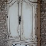 Shabby Chic French Armoire In Whitewashed Color Paint