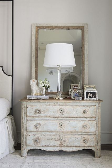 shabby chic makeup station in whitewashed finish
