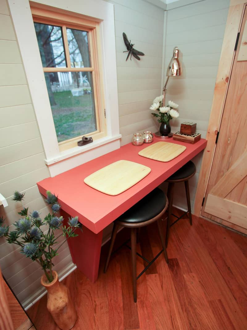 simple small breakfast nook idea black leather bar stools red table copper like table lamp