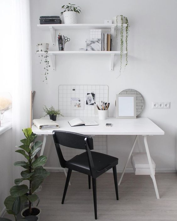 simple white wall organizer idea white working desk black painted working chair