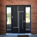 Solid Black Front Door With Stainless Steel Line Accents Mirrored Sidelights Wood Exterior Walls