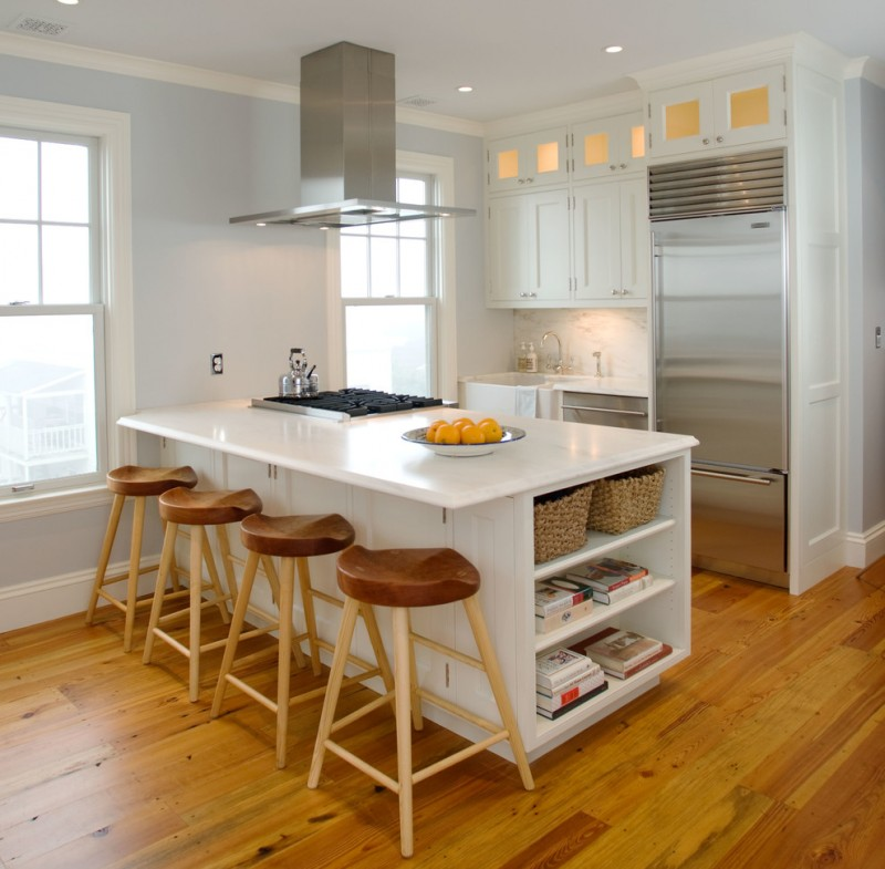 traditional kitchen idea white kitchen island with under open shelves and planted stoves modern wood bar stools wood floors white kitchen cabinets