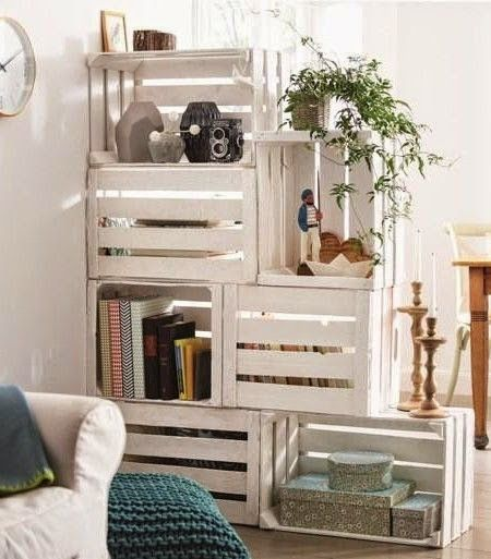two sided bookcase made of white painted crates