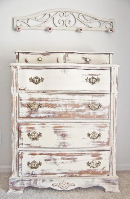 vintage dresser in lightest whitewashed finish