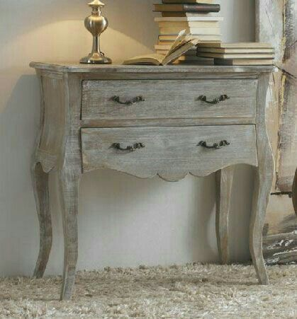 vintage look hall console table in whitewashed finishing