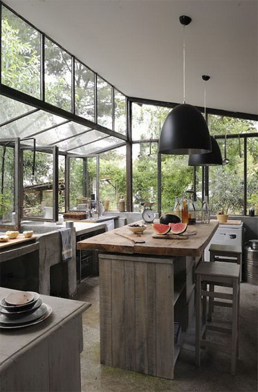 well lighted industrial kitchen industrial island with blockbutcher worktop wooden stools large size industrial pendants with matte black lampshade