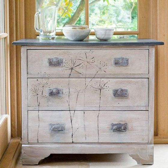 whitewashed furniture with dark top