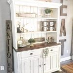Whitewashed Vintage Cupboard With Inside Open Shelves