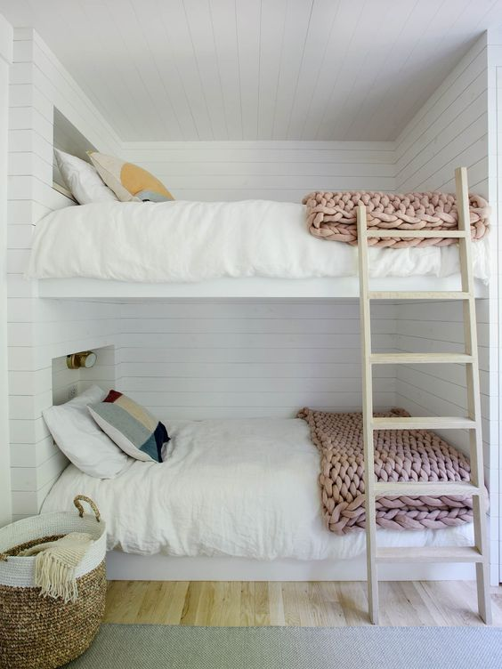 Nordic Inspired Bedroom For Kids Pale Wood Ladder And Floors White Siding  Walls And Ceilings White