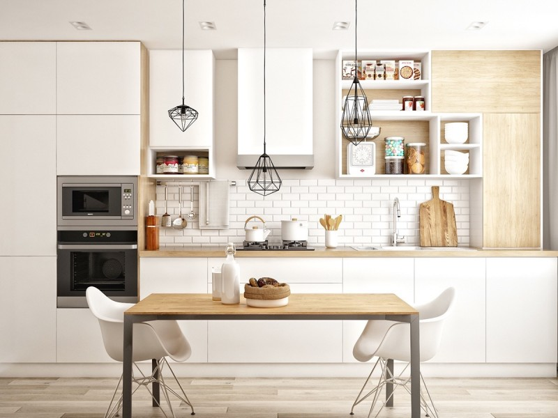 Scandinavian kitchen idea flat paneled cabinetry in white white subway tiles backsplash white open shelves light wood vertical cabinets light wood table stencil legs chairs