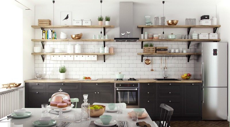 Scandinavian kitchen with industrial and classic touches wood open shelves industrial pendants chrome fridge and oven wood top kitchen counter black cabinetry white subway tiles walls