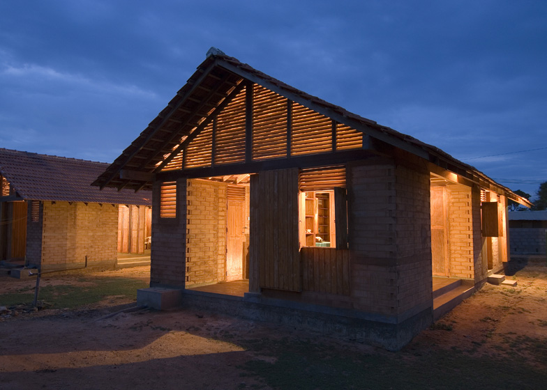 affordable house design built from compressed local wood for walls and coconut wood for roof