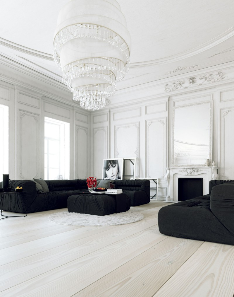 black and white living room white moulded walls grand crystal chandeliers round shaped shug rug in white very light wood floors bold black sofas