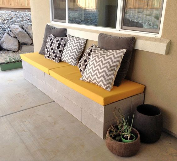 cinder block made bench for backyard