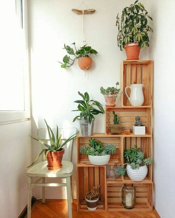 crate made plant stands