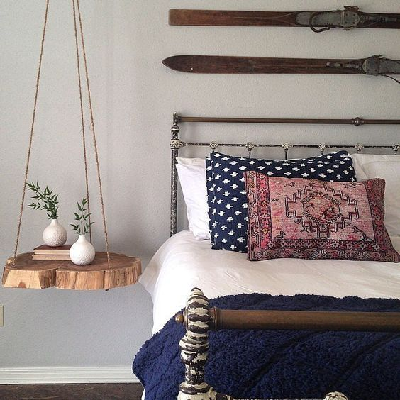 creative DIY hanging nightstand made of a slice of tree trunk metal bed frame with headboard