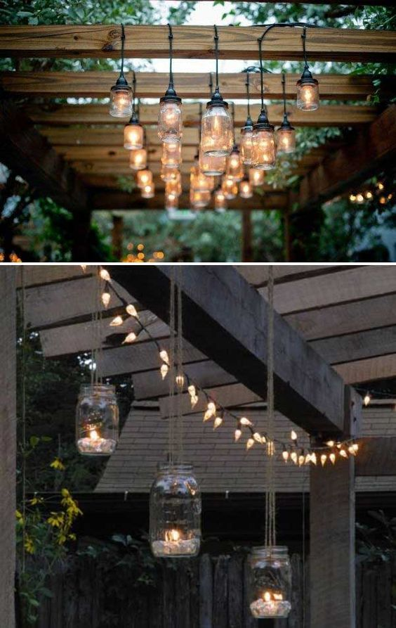 creative Mason jar lighting fixtures for outdoor