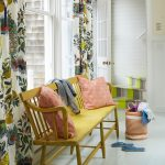 Eye Striking Yellow Wood Chair With Baby Pink Throw Pillows Multicolored Curtains