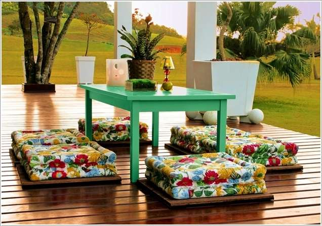 flower print floor pillows green center table gloss finishig wood board flooring idea