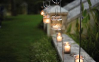 glass jam jar lanterns for garden pathway