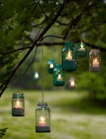 handmade Mason jar garden candle holders