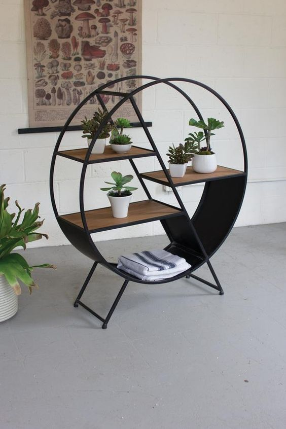 in circle plant stand with extra storage space
