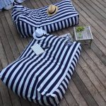 Outdoor Beanbags With Navy Blue White Stripes Aged Bamboo Table Shabbier Wood Board Flooring Idea