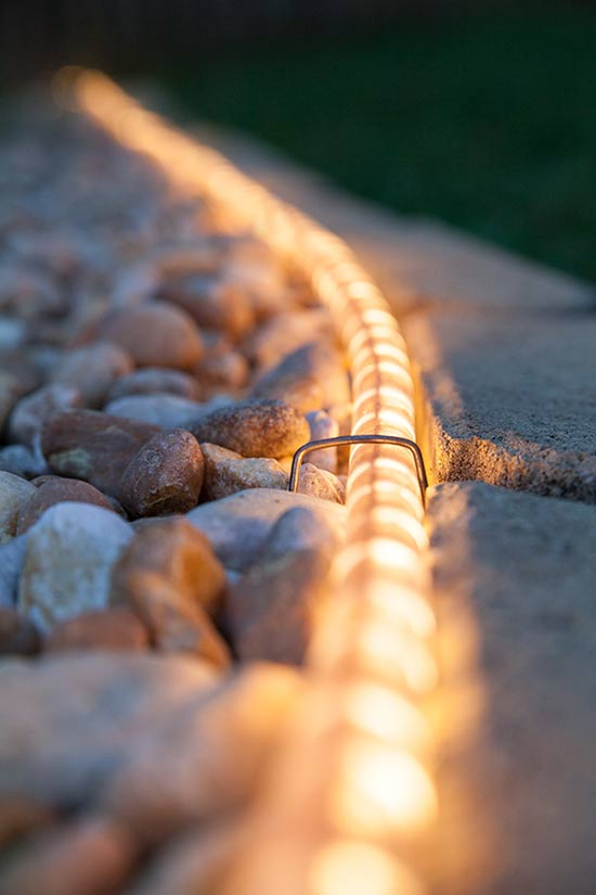 rope light for walkways decks or backyards