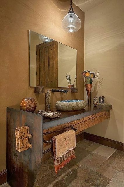 rustic bathroom vanity with modern touch larger bulb pendant cement tile floors frameless mirror