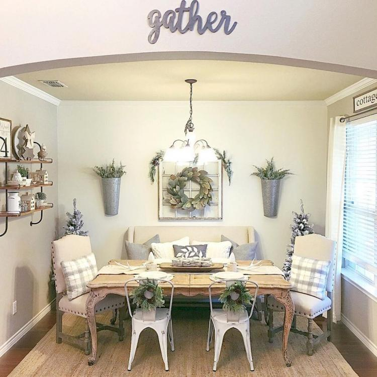 semi rustic breakfast nook with green plants and wreath addition