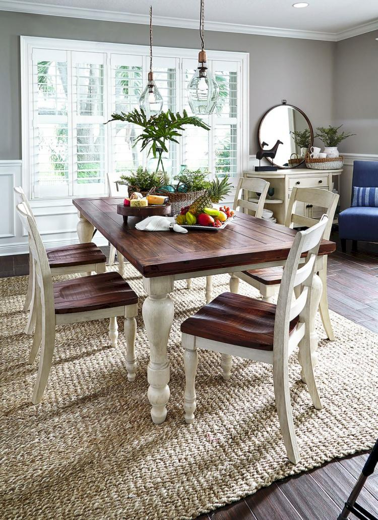 simple rustic dining room darker wood dining furniture with white color accent rough textured woven rug
