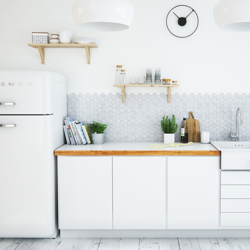 small Scandinavian kitchen with obvious wood edging black clock light wood shelves and whitewashed wood board floors
