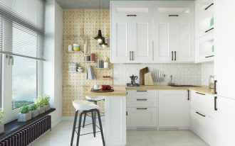 small and practical Scandinavian kitchen idea drilled wooden panel for mounted shelves white kitchen cabinetry wooden countertop modern bar stools